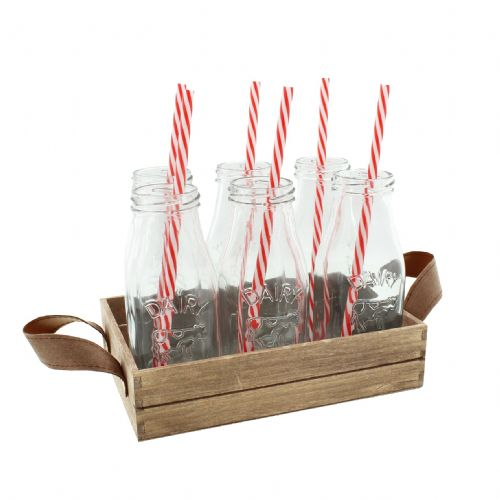 Set Of 6 Mini Milk Bottle Drinking Glasses With Red & White Straws On Wooden Tray
